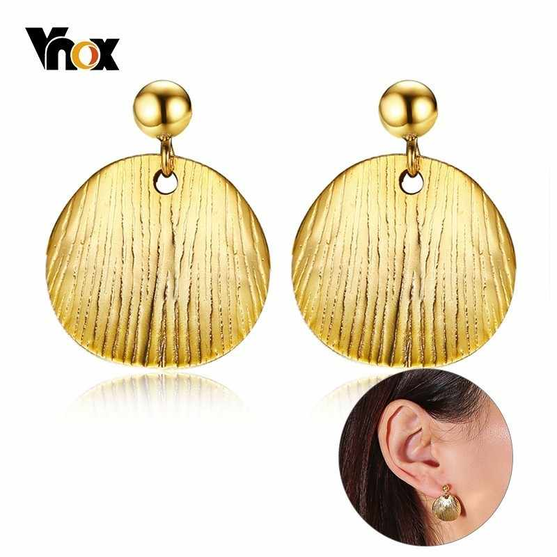 Vnox Chic Irregular Texture Stylish Drop Earrings for Women Stainless Steel Round Dangle Unique Street Wear Boucles d'oreilles