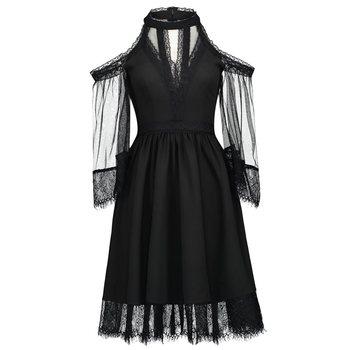 Rosetic gótico Vestido Skater de malla y encaje de niña de fiesta de verano  de moda Sexy Bella Morte de malvada ataúd Cutie vestidos 0a9f8aec45ba