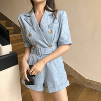 Office Lady Suit Playsuit Spring Summer V neck With Sashes Elegant Wide Leg Jumpsuit Blue Pink Fashion Wear Clothes