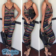 Summer Jumpsuits HOT Women Colorful Stripe Jumpsuit Sleeveless V-Neck High Waist Plus Size