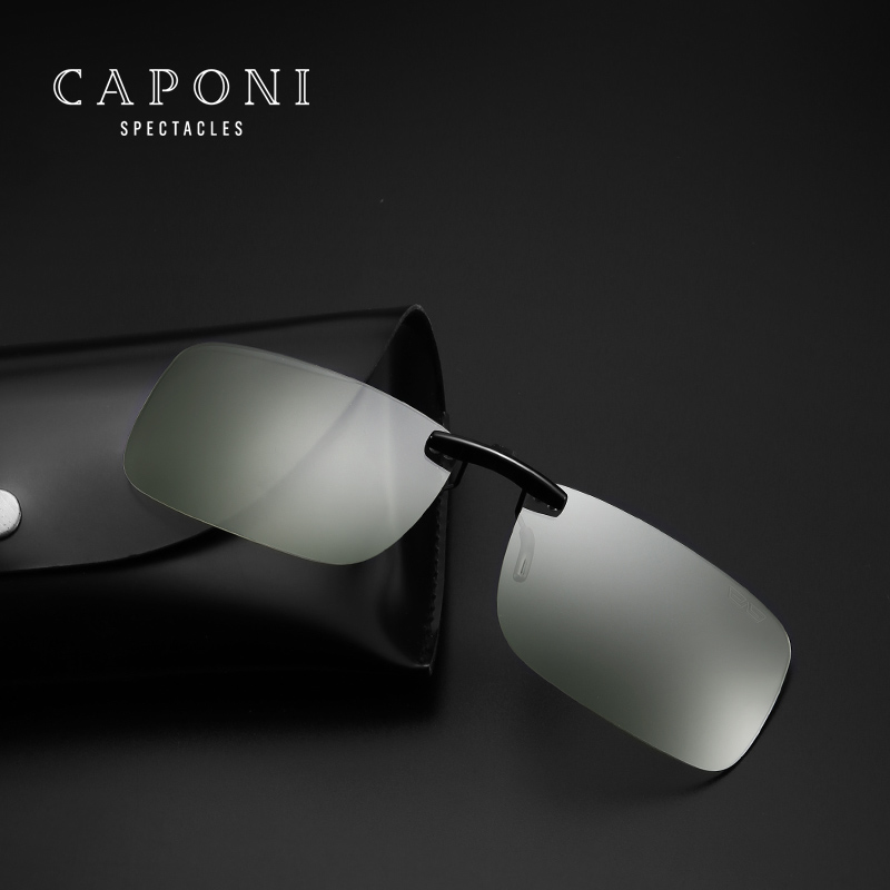 Caponi Square Photochromic anti blue light Clip On Sunglasses Unisex Driving computer Transpare glasses For Flip