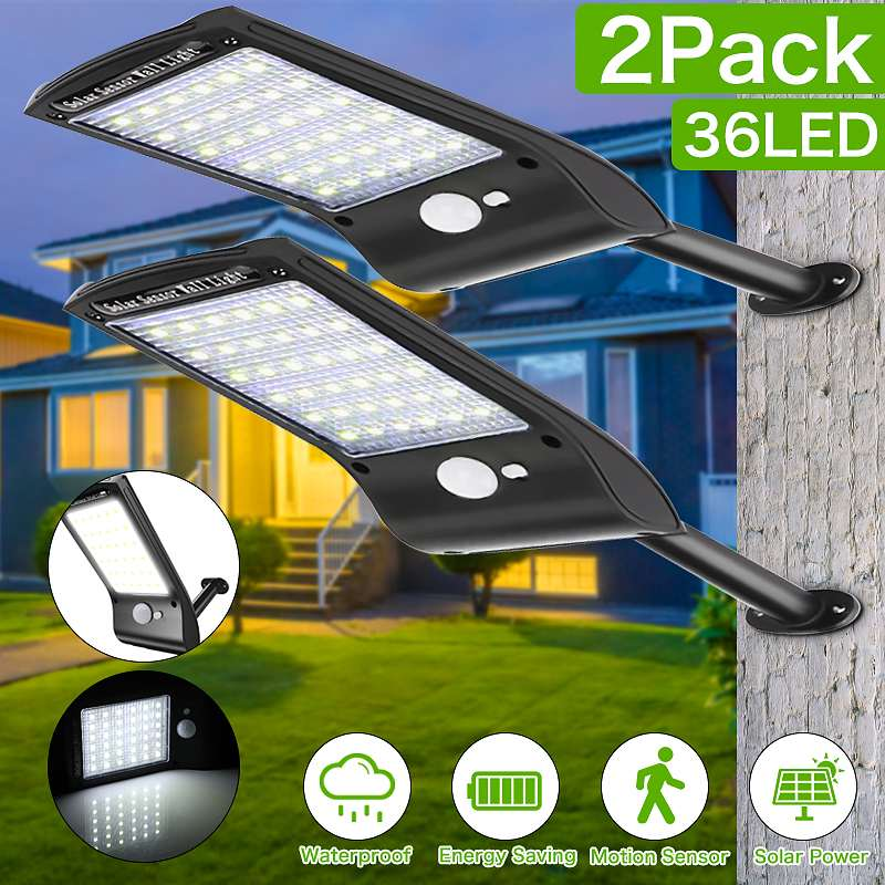 Solar Wall Lights Outdoor Waterproof Security 36 LED Solar Powered Motion Sensor Wall Lamp With Mounting Pole For Garden Pathway