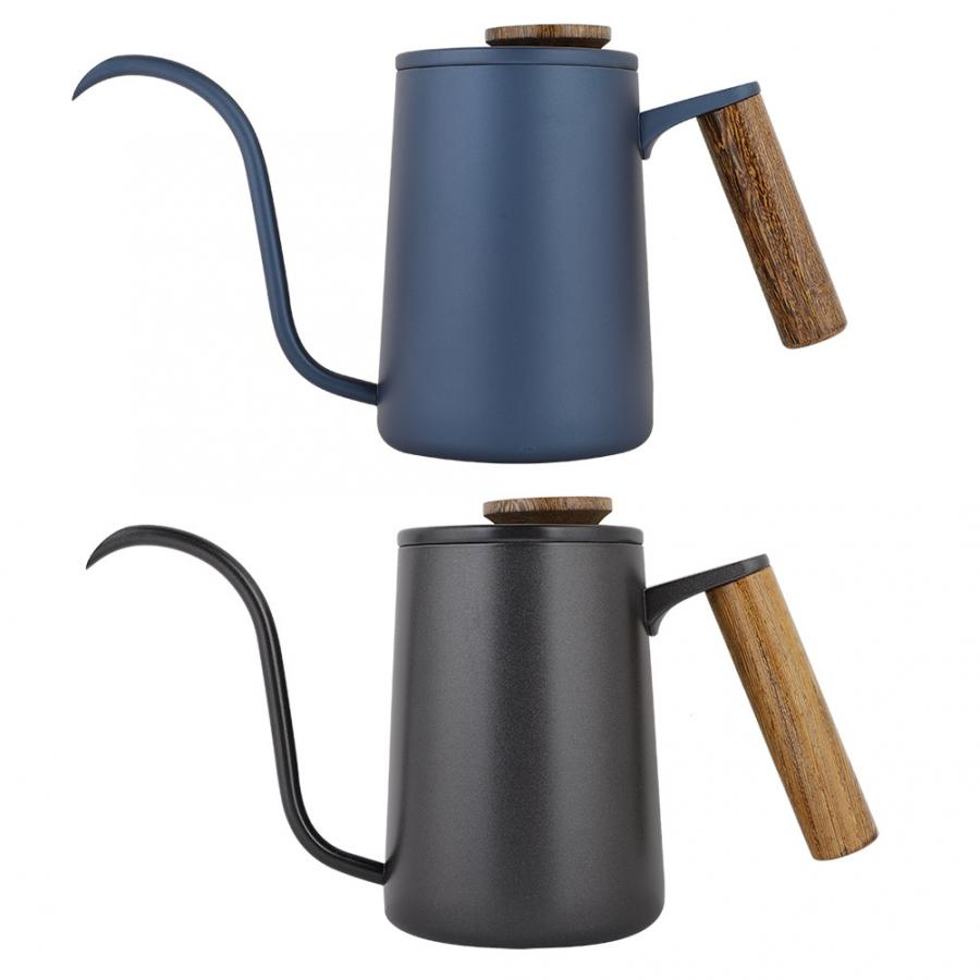 600ml Coffee Machine Fashion Stainless Steel Handle Drip Coffee Pot Long Gooseneck Spout Kettle Portable Coffee Maker Kitchen Баллон для дайвинга