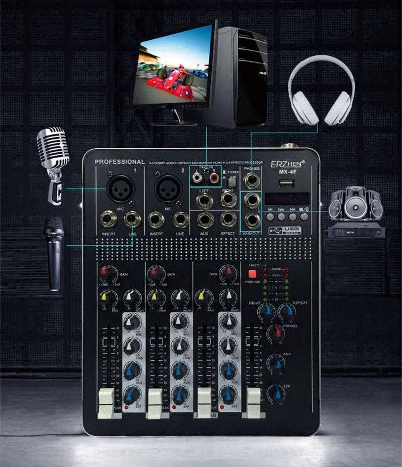 LEORY BTF4 4 Kanalen Bluetooth Audio Mixing Console Record Audio Mixer met USB DJ Controller Mixer Apparatuur Professionele - 4