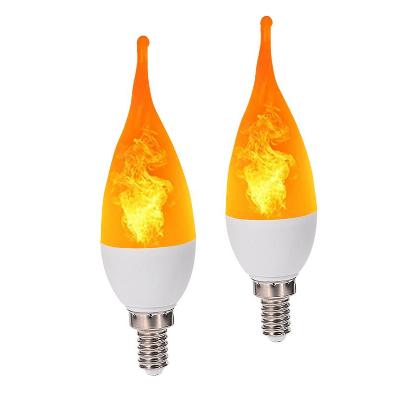 E12 Flame Bulb Candle Light AC85-265V Three Mode LED Flame Light Bulbs Flickering LED Lamp Tail Flame Lamp