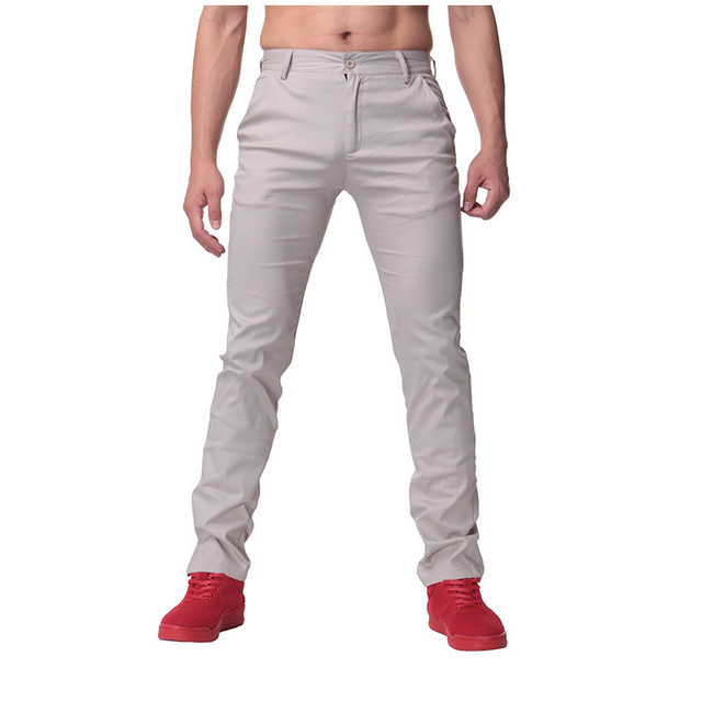Men Fashion Pants Casual Solid Color Button Chinos Trousers Men Slim