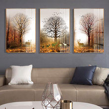 Modern home wall Art Decoration Frameless Abstract Canvas poster printing 3 Panel Forest Deer ainting Picture Home