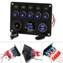 5 Gang Car Boat Marine Blue LED Switch Panel Cigarette Lighter Socket USB Port ABS+ PC+aluminum