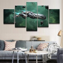 Home Decor Wall Art Canvas Painting Framework HD Print Modern Oil Pictures 5 Panel Asteroid Space Spaceship Star Citizen Poster