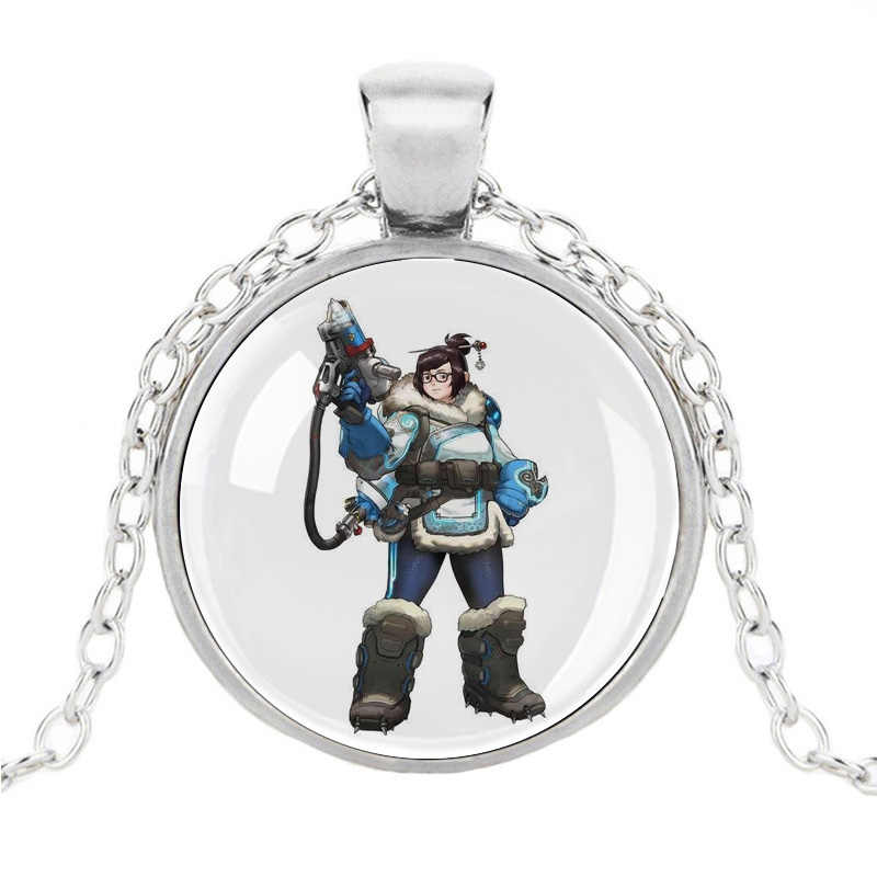 Overwatch Necklace OW FPS Games Overwatch Figures Weapon Cosplay Grim Reaper Round Class Cabochon Pendant Logo For Player Fans