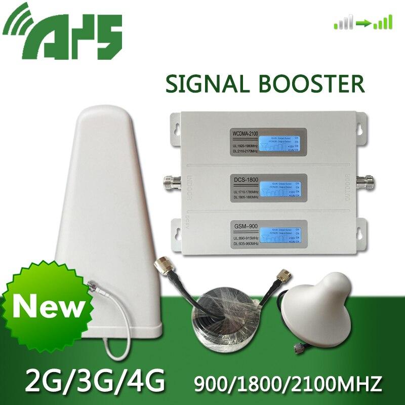 AYS 4g dcs 3g wcdma 2g gsm répéteur amplificateur de téléphone portable Kit aérien Signal de téléphone portable 900 1800 2100 affichage LCD en alliage
