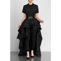 Women Blouse Shirt Plus Size Ruffle Tails Slim Summer Top Asymmetric Peplum Long Party Blouse