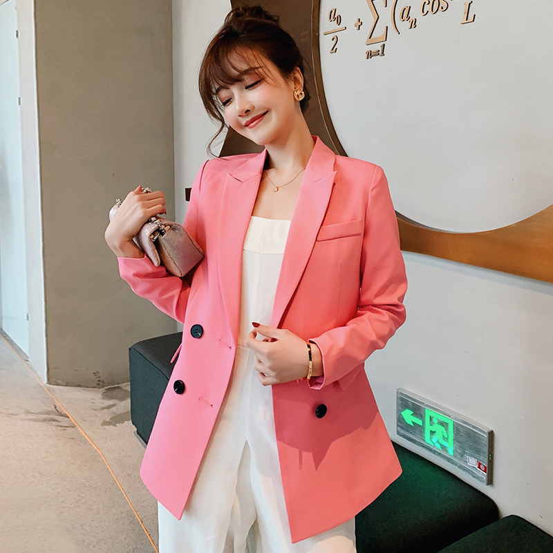 PEONFLY Blazer Women Double Breasted Casual Work Suit Long Sleeve Jacket 2019 Fashion Female Blazers Solid Color Loose Coat XXL