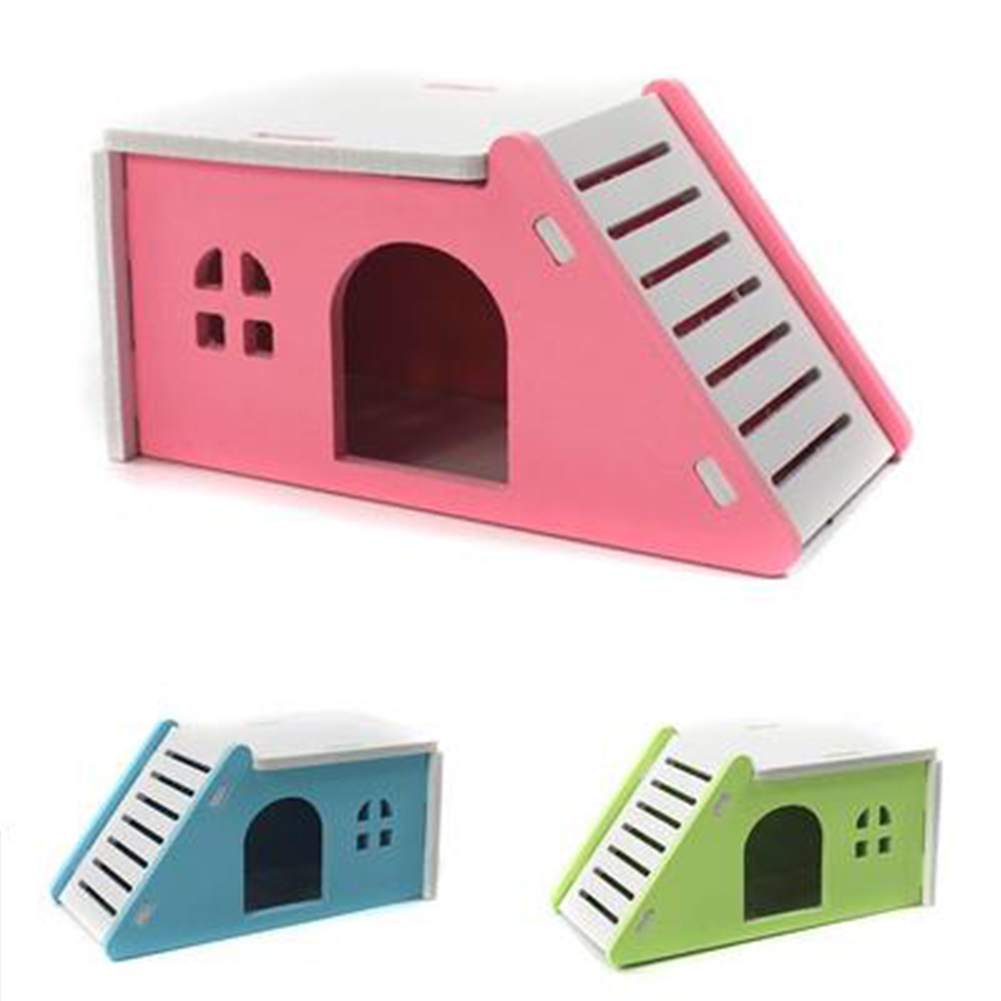 Two Layers Wooden Hamster House Hideout Hut Rat Hideaway Dwarf Hamster Mouse Small Animals Exercise Toys Blue Green Pink