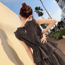 2019 Summer Women Sexy Polka Dot Empire Chiffon Dress Vintage Sleeveless Ruffle A-line Midi Dress Casual Beach Dress Sundress stylish sleeveless polka dot chiffon dress for women
