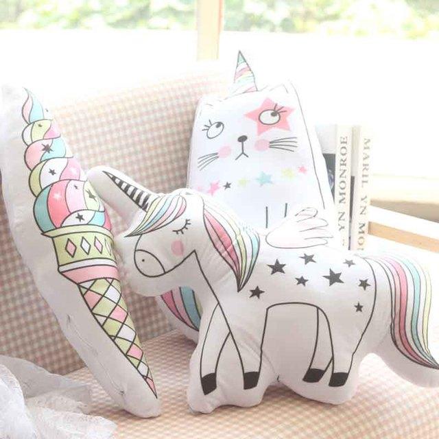 Kawaii Sorvete Unicórnio De Pelúcia Brinquedo Macio Travesseiro De Pelúcia Macia Boneca Do Gato Em Forma de Animais Do Bebê Caçoa o Quarto Decoração Crianças Brinquedos de Presente
