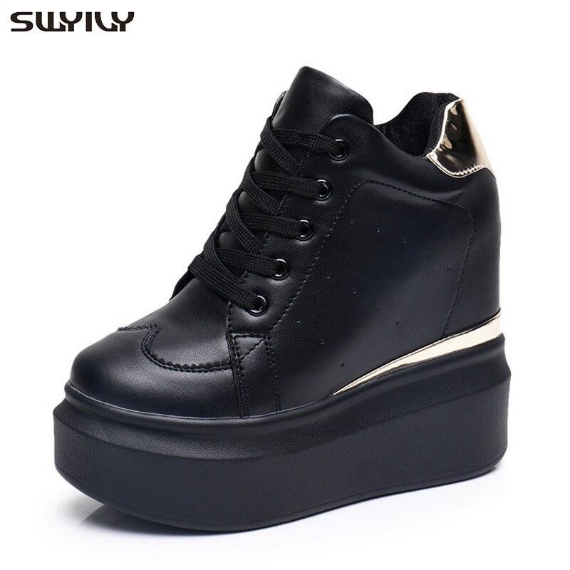 SWYIVY High Sneakers Women 2019 Spring/Autumn New Female Casual Shoes Wedge High Heel Sneakers Platform Ladies Hidden Shoes 12cm