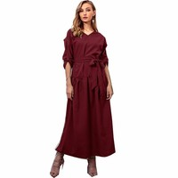 Autumn Winter New Fashion Irregular V neck Long Sleeve Casual Solid Dress Frocks Women Dresses Vestido Robe Femme Vintage Elbise