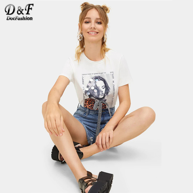 White Bow Front Sequin Detail Figure Print Streetwear Tee  4