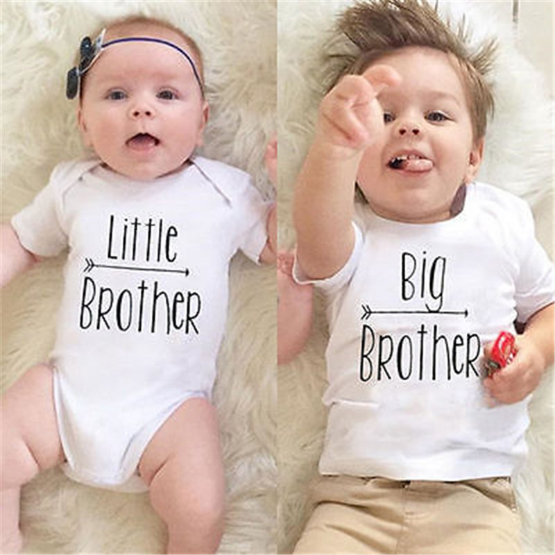 Hot Wholesale Cotton Little Big Brother Family Matching Boys Clothes Baby Boys Letter Print Romper Bodysuit Short Sleeve T-shirt