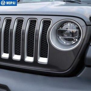 Image 2 - MOPAI Auto Anteriore Griglie Decorazione Della Copertura Sticker per Jeep Wrangler Sahara 2018 + Accessori Auto per Jeep Gladiatore JT 2018 +