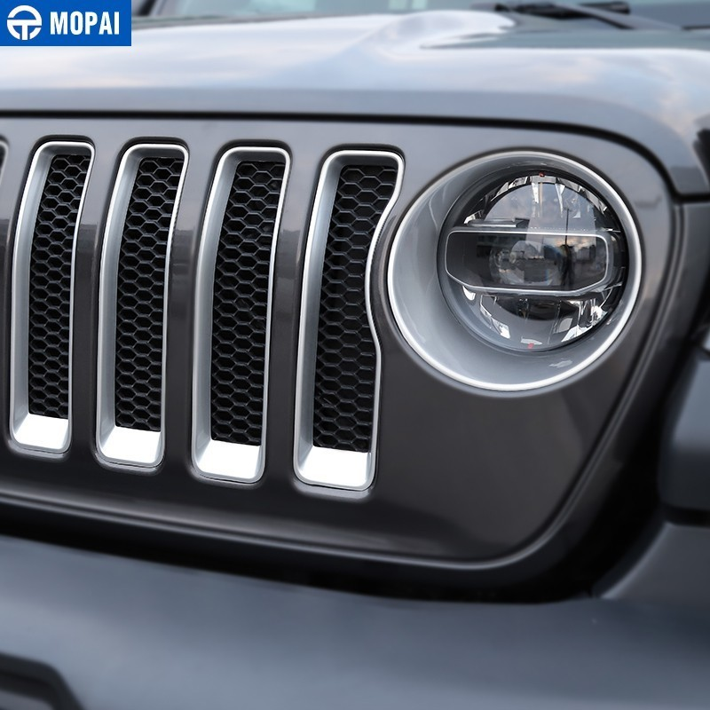 Image 2 - MOPAI Car Sticker for Jeep Wrangler JL 2018 ABS Car Front Grilles Decoration Cover Trim for Jeep Wrangler 2019+ Car Accessories-in Car Stickers from Automobiles & Motorcycles