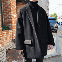 Winter Fashion New Casual Men's M XXL Cotton Polyester Wild Solid Color Youth Personality Lapel Temperament Woolen Coat