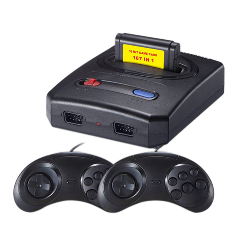 Powkiddy Mini Video Game Console Retro Classic Tv Game Console Dual Controller Free 16-Bit 167 In 1 Different For Sega Md Game
