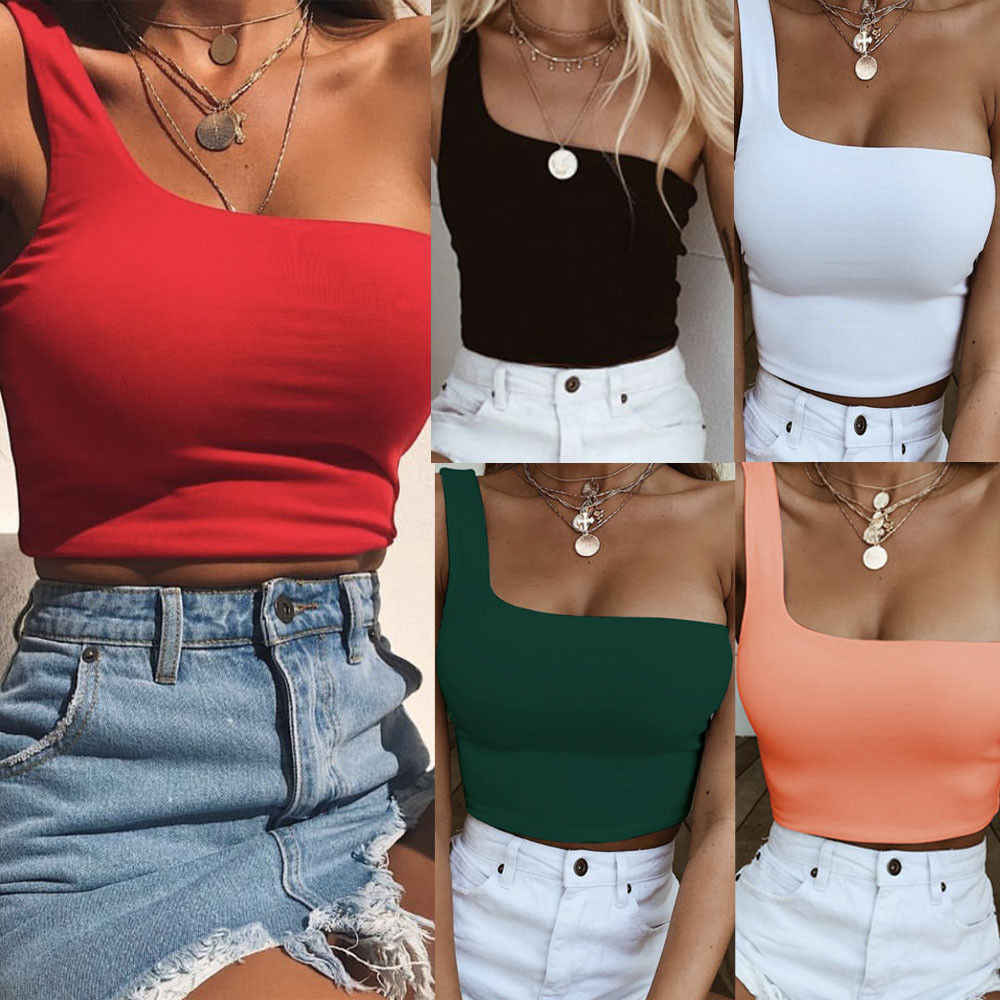2019 Newest Style Women Lady Female One Shoulder Crop Tops Sleeveless T-Shirt Tank Tops Summer Beach Vest Summer Fashion Clothes