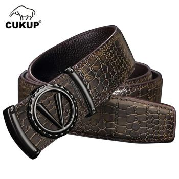 CUKUP Brand Design Quality Cowhide Belt for Men Male Slide Buckle Men's Luxury Unique Crocodile Genuine Leather Belts  LUCK805 fashionable crocodile and letter z shape inlay design auto buckle belt for men