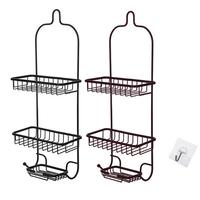 Bathroom Punch free Racks Bathroom Wrought Iron Storage Kitchen Rack Home Wall mounted Storage Basket Tool