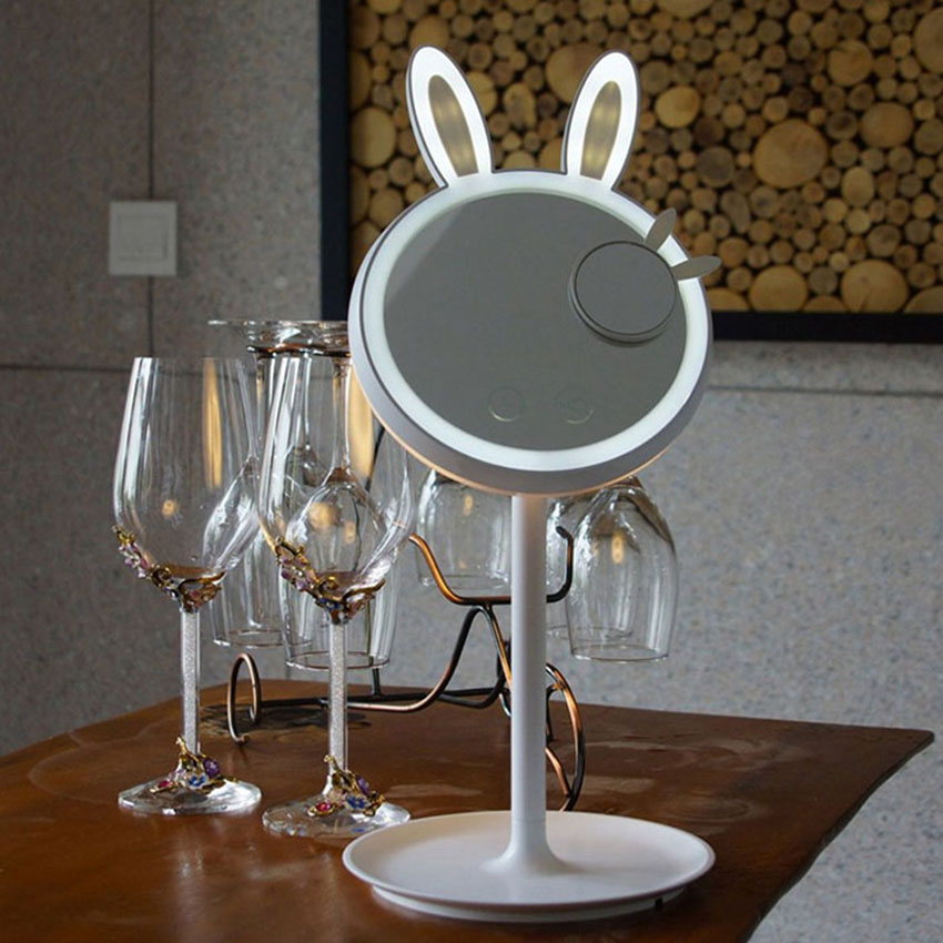 Rabbit Bunny Beauty Eye Protective Makeup Mirror Table Lamp Dimmable Mirror Light