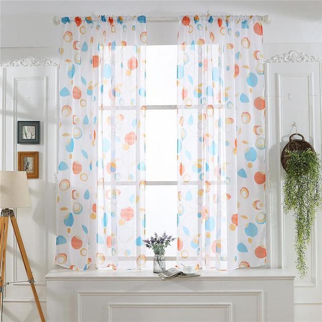 Curtain Valance Tulle Home Living Transpa Circle Geometric Pattern Print Decor