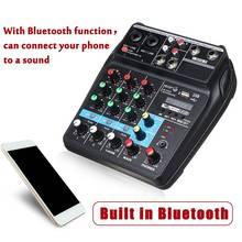 แบบพกพา A4 เสียงคอนโซลผสมเครื่องผสมเสียงบลูทูธบันทึก 48V Phantom Power Effects 4 ช่องเครื่องเสียง USB