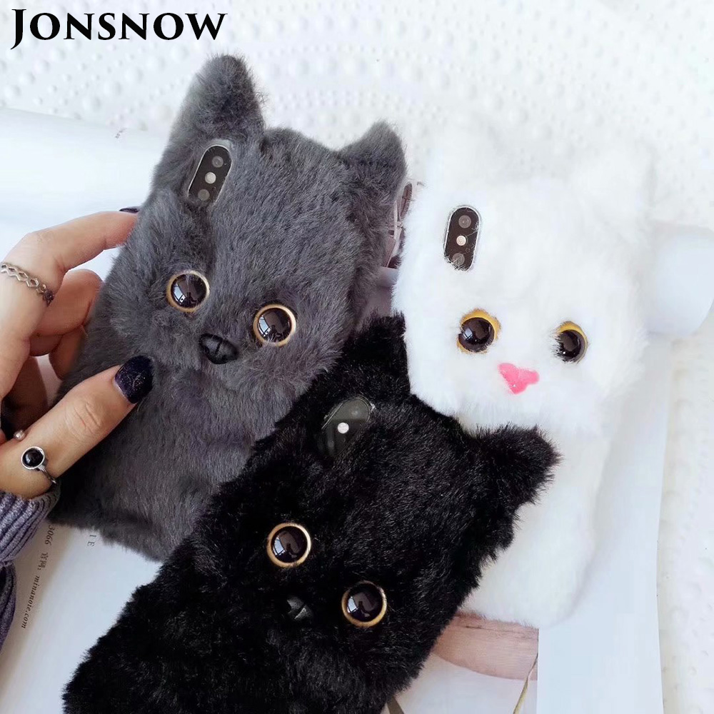 JONSNOW Winter Warm Soft Fur Phone Case for iPhone 6 6S 7 8 Plus 3D Cat Plush Cases for iPhone XS XR XS Max Back Cover Fundas