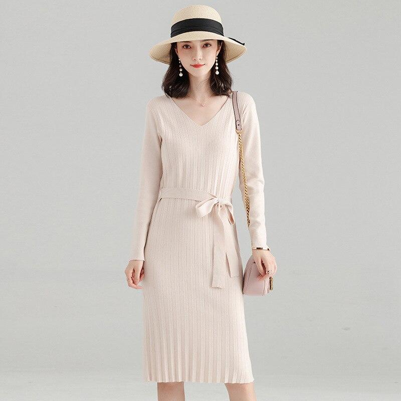 Makuluya chandail à manches longues en laine extensible pour femmes nouvelle Version coréenne robe tricotée plissée automne hiver printemps QW
