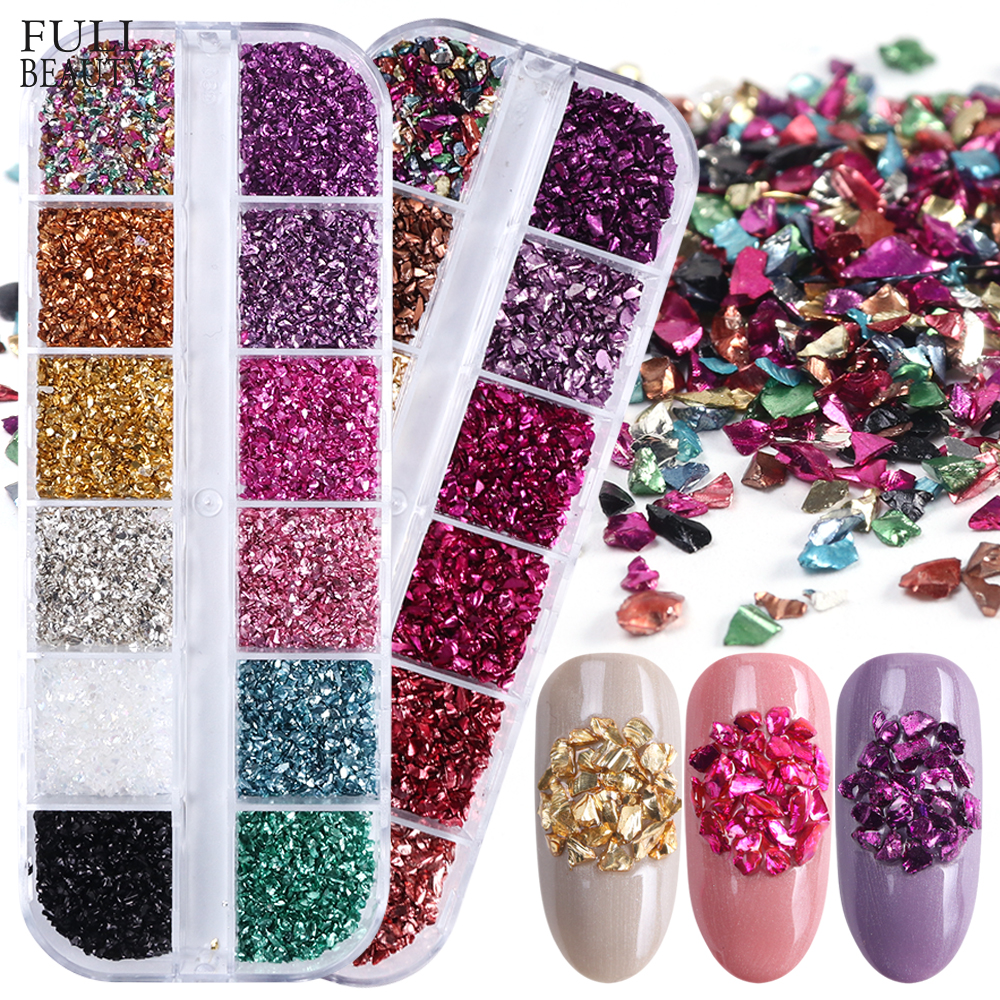 12 Colors/Set Irregular Metal Rose Gold Nail Sequins Broken Glass Gravel Glitter Stone Accessories Nail Art Decorations CHBLB/S-in Nail Glitter from Beauty & Health
