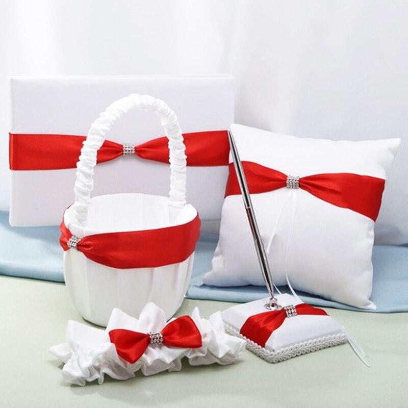 Panier de fleurs arc rouge classique de mariage + oreiller d'anneau + signe dans le livre + stylo + jarretière
