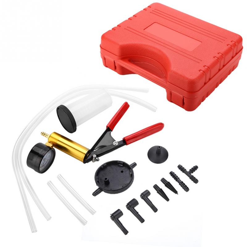 Qiilu Brake Bleed Kit Brake Fluid Bleeder Tool Set for Car Motorbike Hand Held Vacuum Pressure Pump Brake Bleeder Adaptor