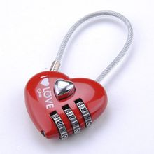 Home Use Lovely Mini Resettable Combination Padlock Heart Lock for Suitcase Luggage Bags 3 Digits