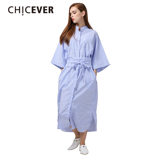 0bd7c6c44a4 CHICEVER 2017 Manteau Manches Rayé Longue D été Chemise Robe Femmes Kimono  avec Ceinture Dentelle