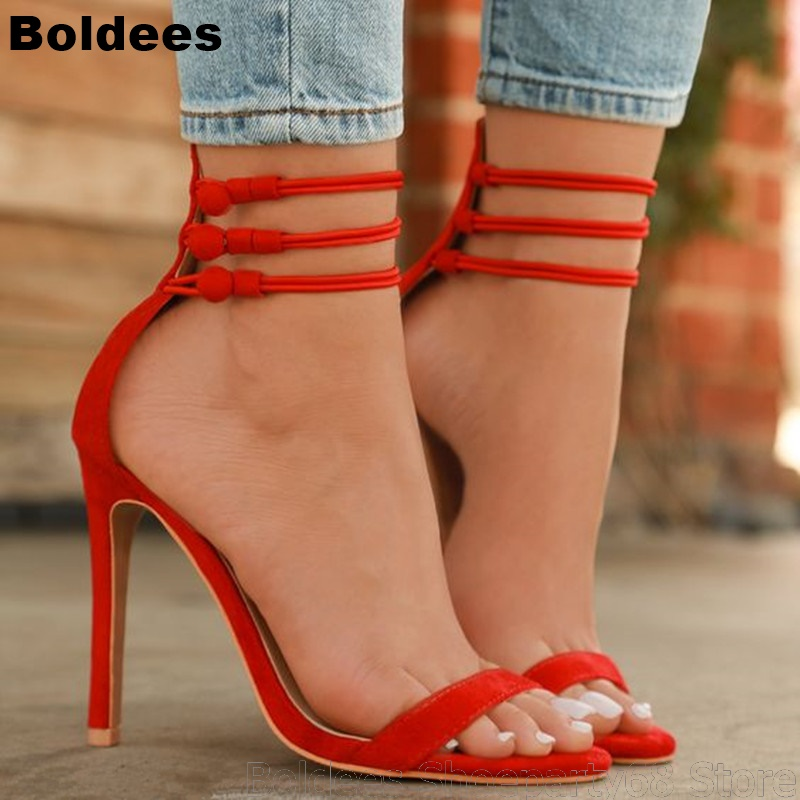 Alto Fiesta Tacón as Abierto Zapatos Botón Dedo Rojos Sandalias Delgada Verano Mujer Pic Tacones Vestido As De Pic Tobillo fqS1FAI