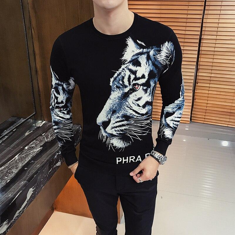 2019 Spring Animal Print Fashion Sweater Men Club Party Prom Casual Men Cloth Knit Sweater Mens Pullover Homme Erkek Kazak