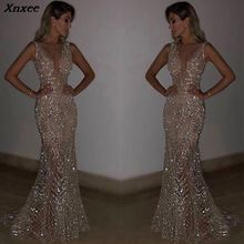 Xnxee 2019 Vestidos Sexy Solid Sleeveless Trumpet V-Neck Long Dress Women Dresses Fashion Party Vestido De Fiesta
