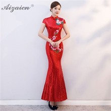 Red Paillette Embroidery Evening Dresses Long Chinese Traditional Wedding Dress Qipao Cheongsam Sexy Bride Traditions Qi Pao все цены