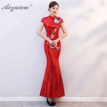 все цены на Red Paillette Embroidery Evening Dresses Long Chinese Traditional Wedding Dress Qipao Cheongsam Sexy Bride Traditions Qi Pao онлайн
