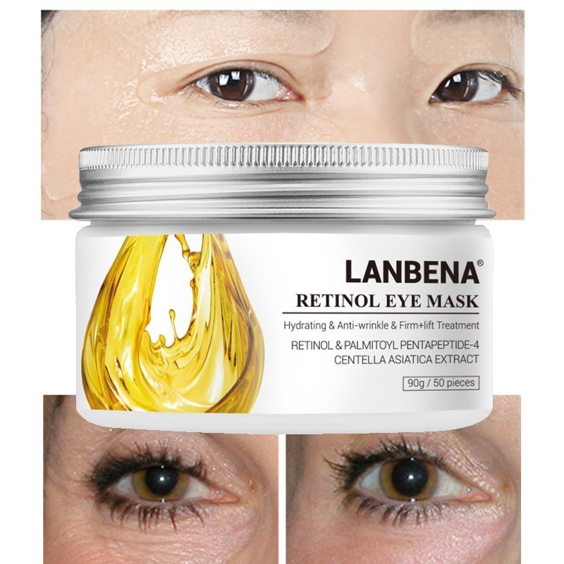 90g/50pcs LANBENA Retinol Eye Mask Patch For Eye Collagen Gold Mask Relieving Dark Circle Remove Anti Puffiness Beauty Skin Care(China)