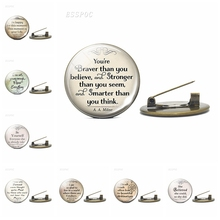 Famous Quote Badge Mark Twain Oscar Wilde Shakespeare Funny Brooch Glass Cabochon Copper Pin Women Men Accessories