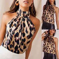 Hirigin Frauen Sexy Leopard Print Halter Neck Sleeveless-Taste Cami Weste Abend Party Tops