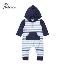 a46a77a765d Pudcoco Neugeborenen Baby Boy Langarm Striped Romper Overall Mit Kapuze  Känguru Tasche Overall Kleidung